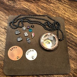 Origami Owl Lot: Rose Gold charm holder & charms